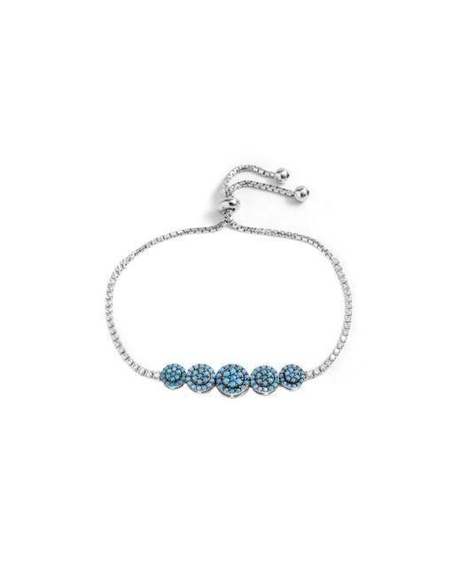 Barzel - Metallic Sterling Silver Trq Cz Multi Circle Friendship Bolo Adjustable Bracelet - Lyst