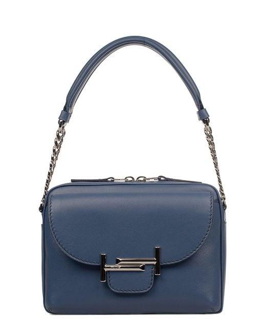 Tod's - Women's Blue Leather Shoulder Bag - Lyst