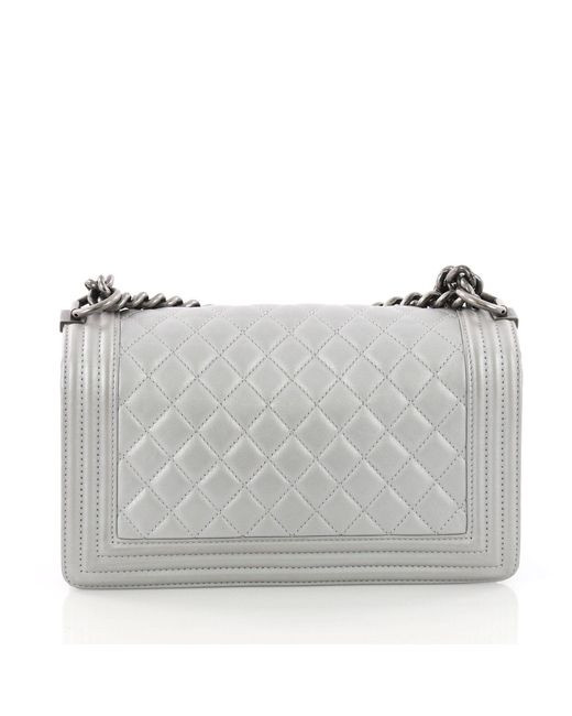 df93bbbbc9c4 ... Chanel - Gray Pre Owned Boy Flap Bag Quilted Calfskin Old Medium - Lyst  ...