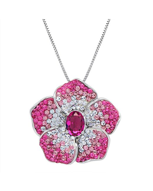 Amanda Rose Collection - Metallic Sterling Silver Pink Flower Pendant-necklace Made With Swarovski Crystals - Lyst