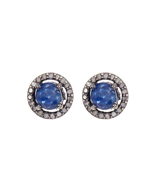 Adornia - Blue Sapphire And Champagne Diamond 5mm Echo Halo Stud Earrings - Lyst
