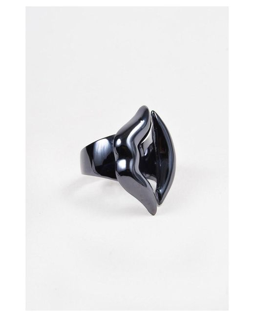 Bernard Delettrez - Multicolor Nwot Gunmetal Plated Bronze Lips Ring Sz 7 - Lyst