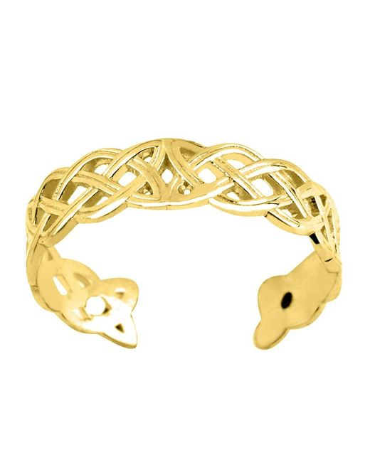 JewelryAffairs | 14k Yellow Gold Celtic Knot Weave Design Cuff Style Adjustable Toe Ring 4mm | Lyst