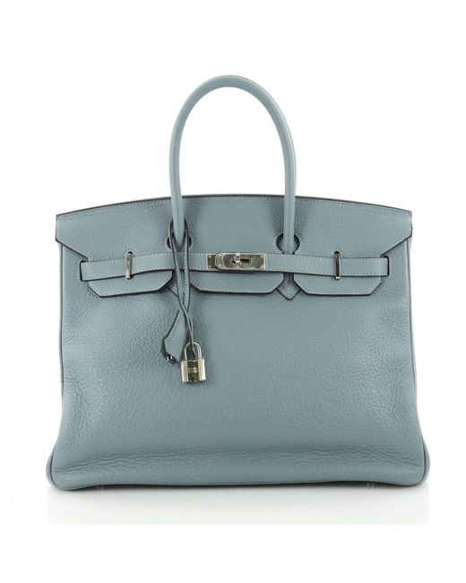 de4c49cb60 Hermès - Pre Owned Birkin Handbag Blue Ciel Clemence With Palladium  Hardware 35 - Lyst ...