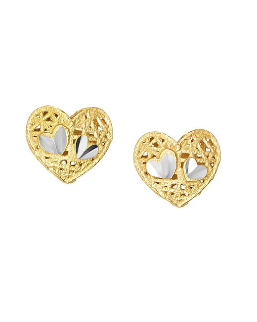 JewelryAffairs | Yellow 14k 2 Tone Gold Heart Shape Stud Earrings | Lyst