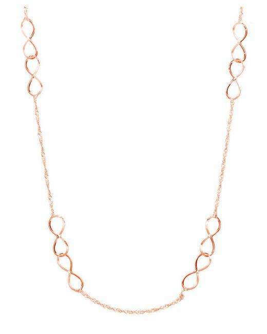 "Barzel | Pink 18"""" 18k Rose Gold Ptd Sterling Silver Infinity Interlocked In Singapore Chain Necklace | Lyst"