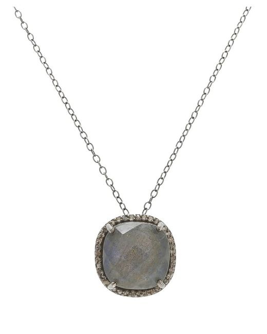 Adornia - Gray Labradorite And Champagne Diamond Lara Necklace - Lyst