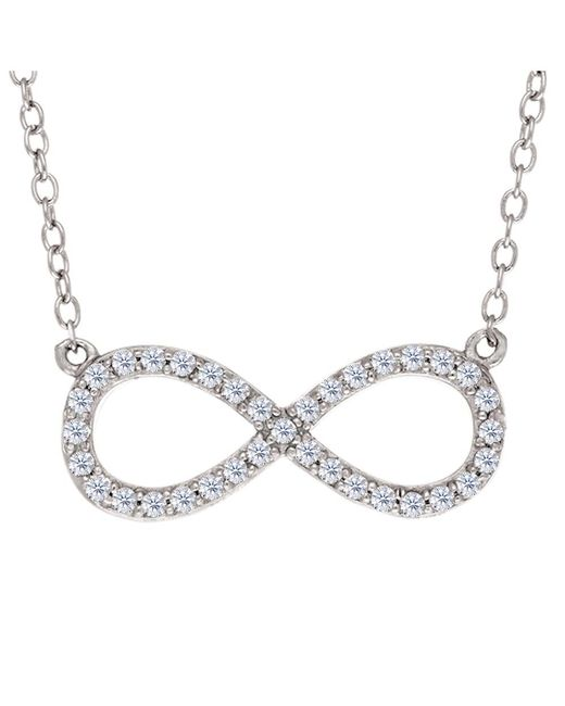 JewelryAffairs | White Infinity Sign Link And Cz Necklace In Sterling Silver, 18 | Lyst