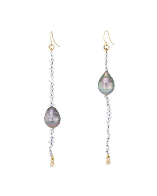 Unbranded - Metallic Pre Owned L Frank Long Baroque Pearl Drop Earrings Estate 18 Karat Yellow Gold - Lyst