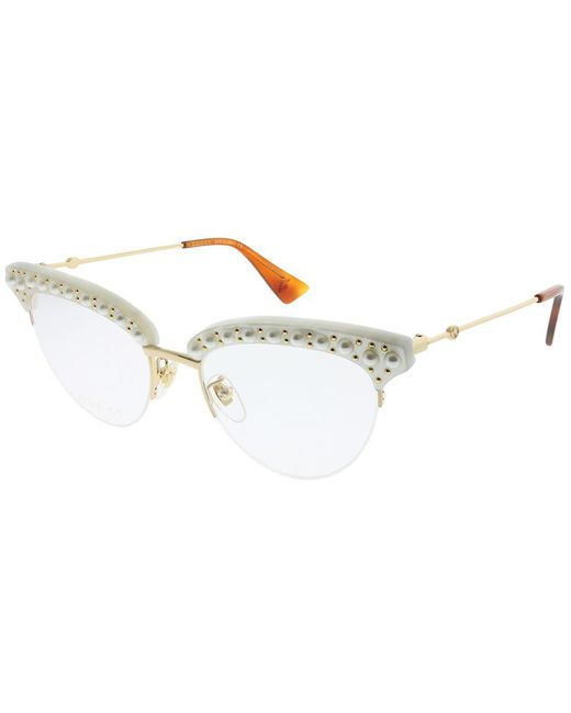 cda4e154b2b Gucci - Multicolor Cat Eye With Pearls GG0213O 003 White Gold Cat-eye  Eyeglasses ...
