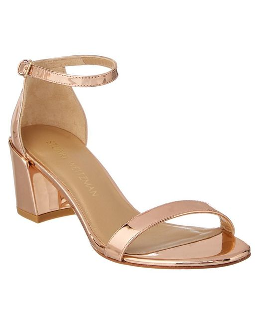 Stuart Weitzman - Metallic Simple Patent Heeled Sandal - Lyst