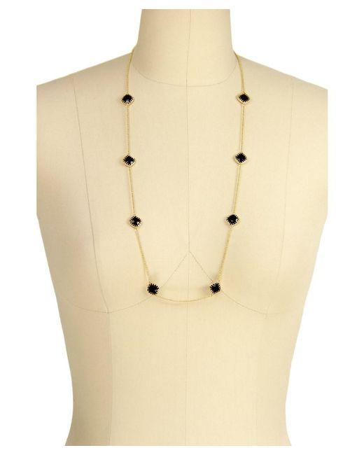 Saachi - Black Rose Quartz Gold Necklace - Lyst