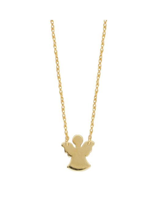 JewelryAffairs | 14k Yellow Gold Mini Angel Pendant Necklace, 16 To 18 Inches Adjustable | Lyst