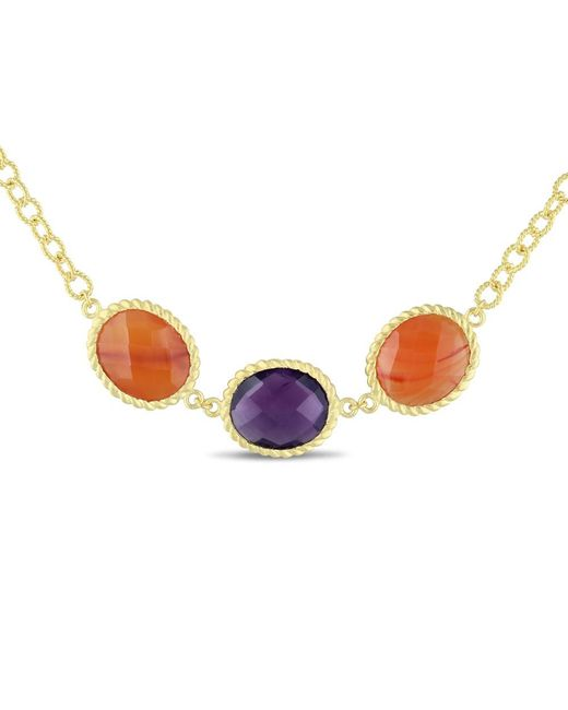Catherine Malandrino - Yellow Carnelian And Amethyst Necklace - Lyst