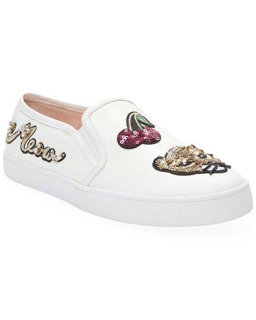 Kate Spade - White Lizbeth Leather Patch Slip-on Sneaker - Lyst
