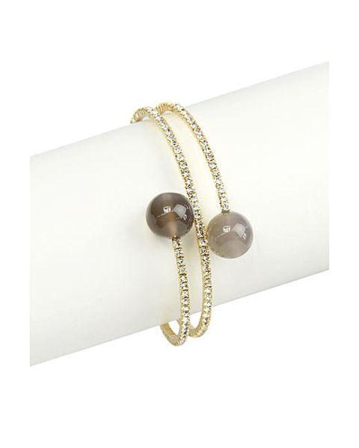 Saachi - Metallic Double Grey Agate Crystal Bracelet - Lyst