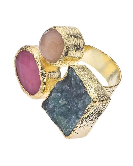 Jewelista - Yellow 18k Gold Plate, Quartz & Druzy Floating Ring - Lyst