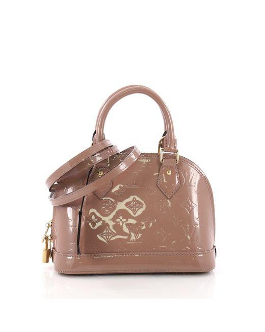8a3d40cea2ca Louis Vuitton - Brown Pre Owned Alma Handbag Monogram Vernis Bb - Lyst ...