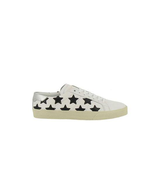 Saint Laurent   Women's 419197cn6409274 White/black Leather Sneakers   Lyst