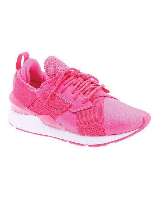 0fd5cca0dceba0 Lyst - Puma Women s Muse Satin En Pointe Pearl Sneaker in Pink