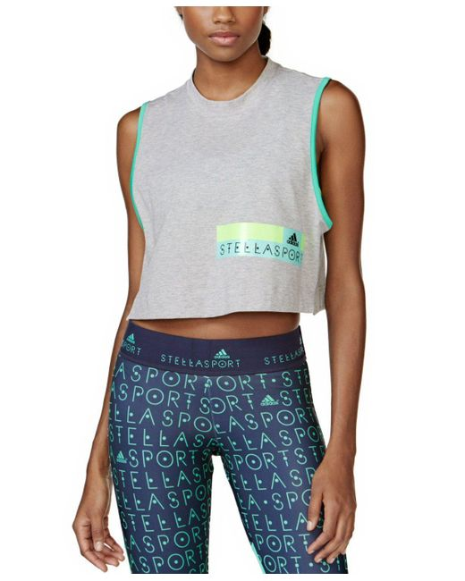 Adidas - Blue Cropped Tank Top - Lyst