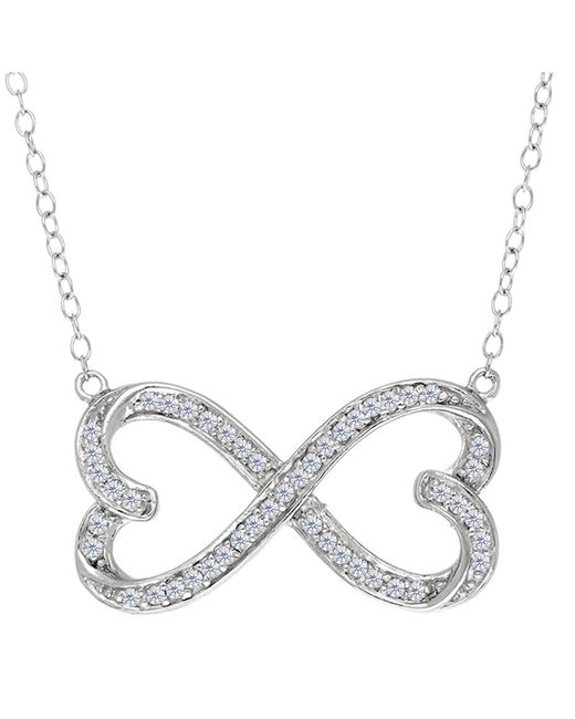 JewelryAffairs   White Double Heart Infinity Sign And Cz Necklace In Sterling Silver, 18   Lyst