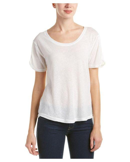 Splendid | White Curved Hem T-shirt | Lyst