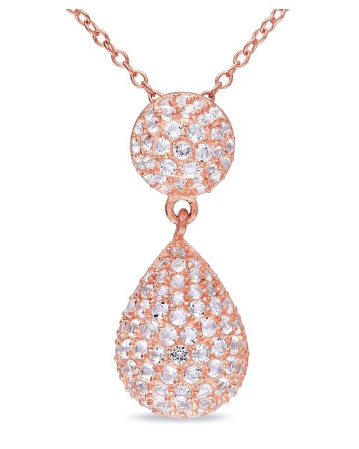 Catherine Malandrino | Pink White Topaz Pave Teardrop Pendant With Chain | Lyst