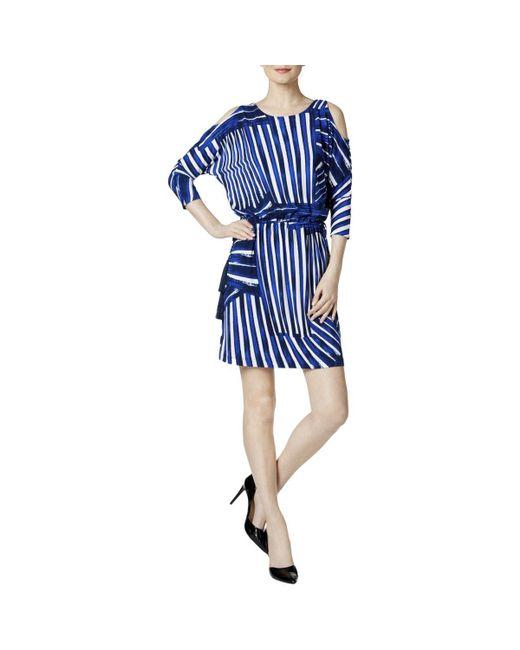 Calvin Klein - Blue Cold Shoulder Blouson Dress - Lyst
