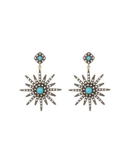 Adornia - Blue Turquoise And Swarovski Crystal Starburst Earrings - Lyst