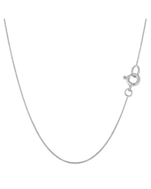 JewelryAffairs - White Sterling Silver Rhodium Plated Box Chain Necklace, 0.7mm, 20 - Lyst