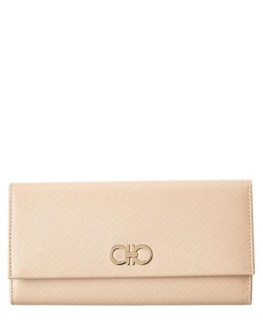 Ferragamo - Natural Double Gancini Leather Continental Wallet - Lyst
