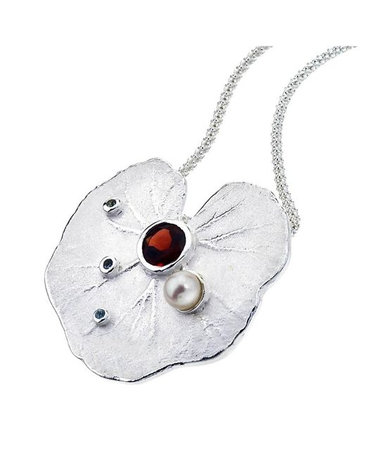 Jewelista - Gray Sterling Silver, Garnet & Pearl Lily Pendant - Lyst