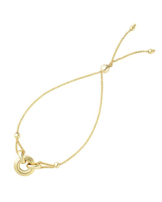 JewelryAffairs - Ring Anchored To Loop Center Bolo Friendship Bracelet In 14k Yellow Gold, 9.25 - Lyst