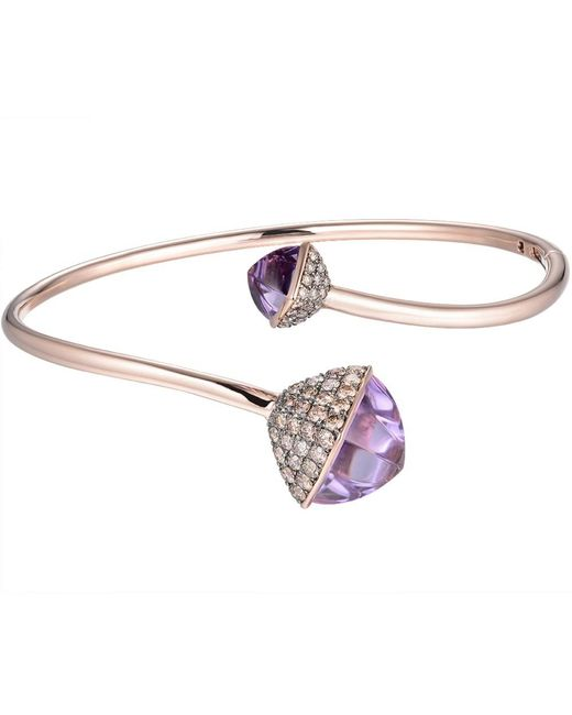 Jewelista - Pink Diamond And Amethyst Bypass Bracelet In 14k Rose Gold - Lyst