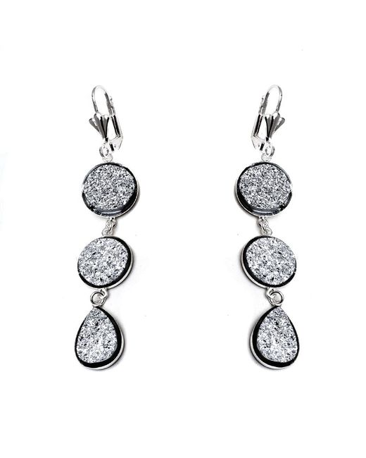 Peermont - Metallic Silver Druzy Crystal Triple Drop Earrings - Lyst