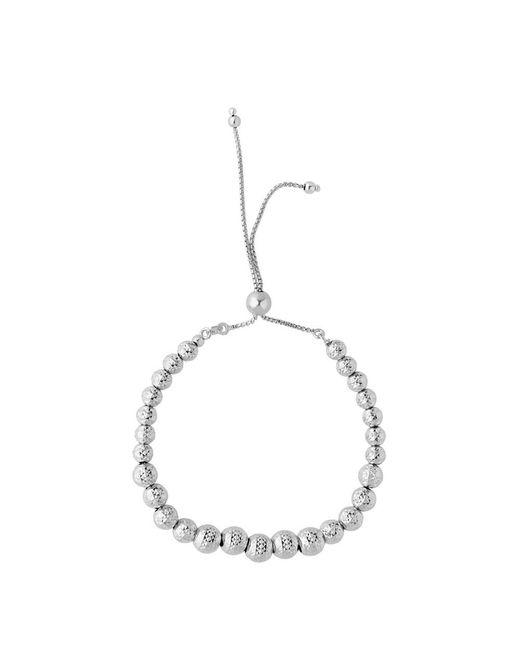 JewelryAffairs - Metallic Sterling Silver Diamond Cut Graduated Beads Adjustable Friendship Bracelet , 9.25 - Lyst