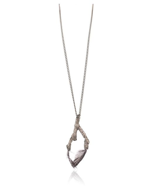 Roberto Cavalli - Metallic Gunmetal Feather Inserted Branch Pendant Necklace - Lyst