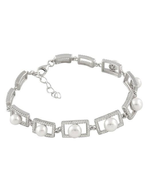 Splendid - Metallic Silver Freshwater Pearl Bracelet With Pearls - Lyst