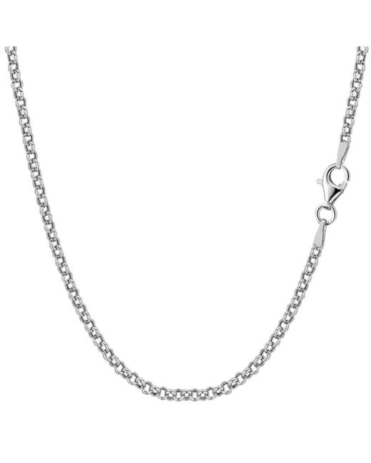 JewelryAffairs - White Sterling Silver Rhodium Plated Rolo Chain Necklace, 2.4mm, 20 - Lyst
