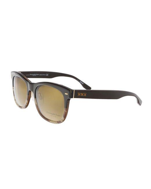 Ermenegildo Zegna - Brown Zc0001 50m Black/havana Rectangle Sunglasses for Men - Lyst