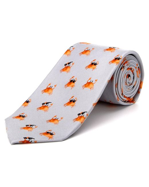 Cole Haan - Multicolor Silver Cool Crab Silk Tie for Men - Lyst