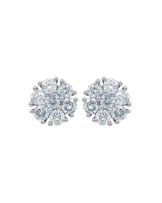 Diana M - 18k White Gold Cluster Earrings With 1.50 Carats Of Total Diamond Weight - Lyst