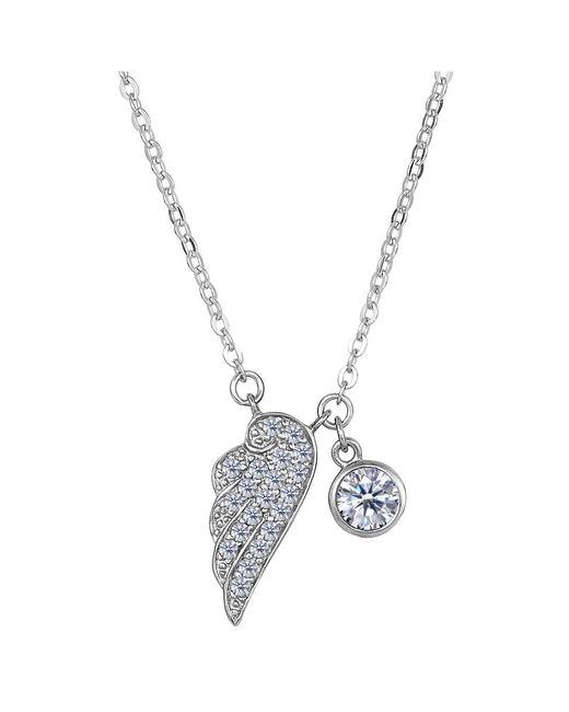 JewelryAffairs | White Sterling Silver Cz Angel Wing Charm Pendant Necklace, 18 | Lyst