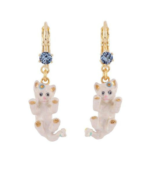 Les Nereides - White Little Cats Playing And Rhinestone Earrings - Lyst