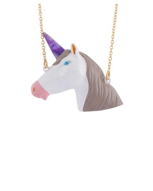 Les Nereides - White Unicorn's Face Long Necklace - Lyst