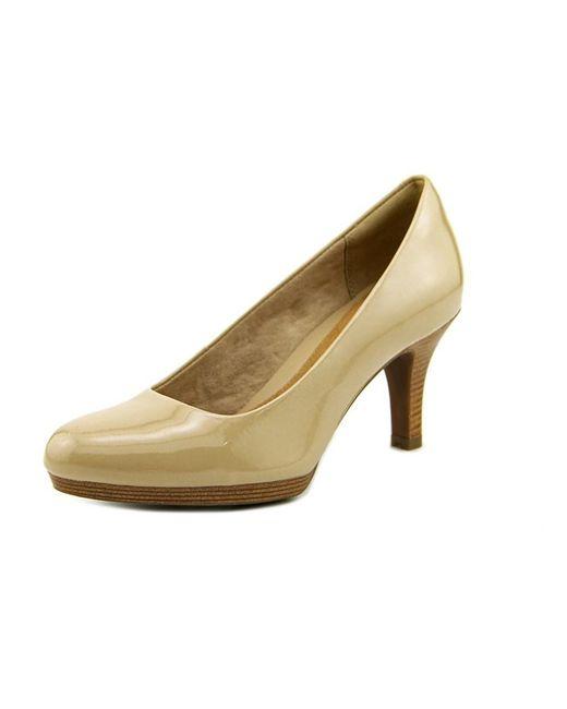Clarks | Natural Tempt Appeal Open Toe Patent Leather Platform Heel | Lyst