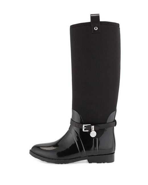 3bcad5ef2021f9 MICHAEL Michael Kors - Black Michael Kors Charm Stretch Rainboot Boots  Brown - Lyst