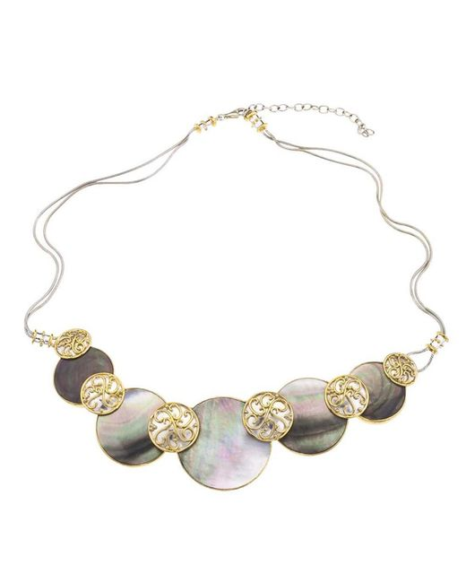 Jewelista - Silver & Black Mother Of Pearl Necklace - Lyst