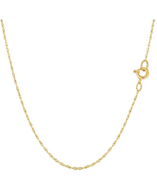 JewelryAffairs - 14k Yellow Gold Rope Chain Necklace, 0.6mm, 18 Inch - Lyst